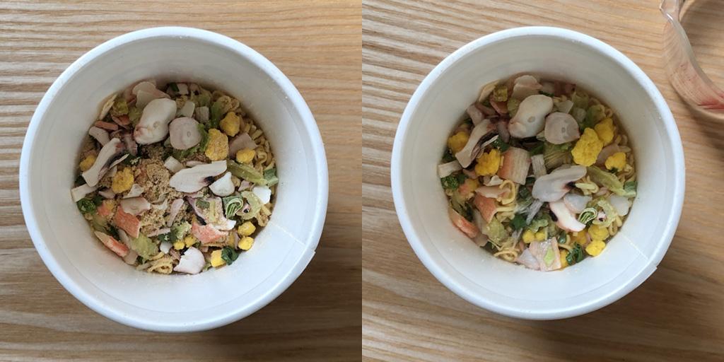 カップヌードル チャーハン:別容器の「具」と砕いた麺をカップヌードルの容器に戻す