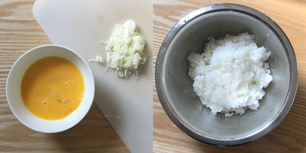カップヌードル チャーハン:材料のネギと溶き卵とご飯