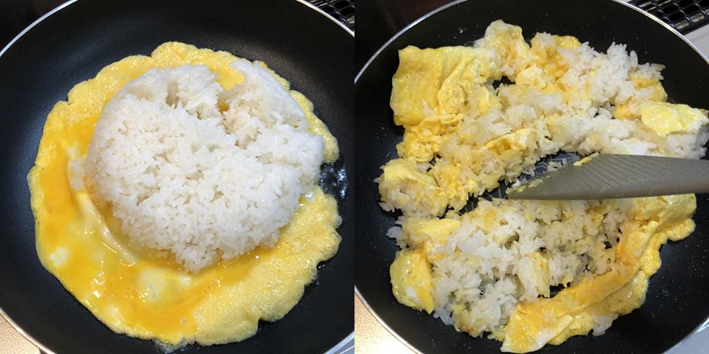 カップヌードル チャーハン:ご飯と卵を強火で炒める
