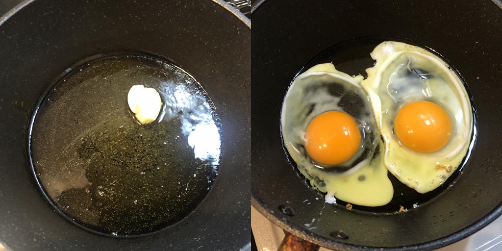 貧乏人のパスタ 作り方:フライパンにオリーブオイルをひき、卵2つを割り入れる