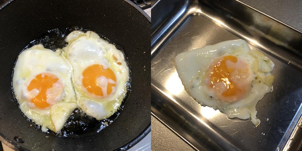 貧乏人のパスタ 作り方:目玉焼きは片方を別皿に退避