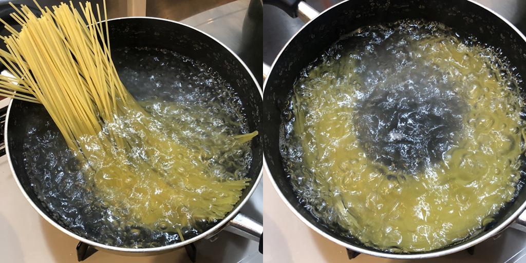 貧乏人のパスタ 作り方:パスタは茹でる段階で、しっかりと塩味をつけるのがコツ