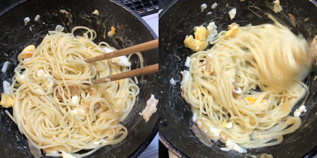 貧乏人のパスタ 作り方:パスタを茹で汁で和えて乳化させます
