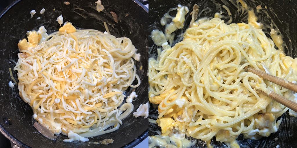 貧乏人のパスタ 作り方:細切りチーズを加えて、溶けるまで和えたら完成