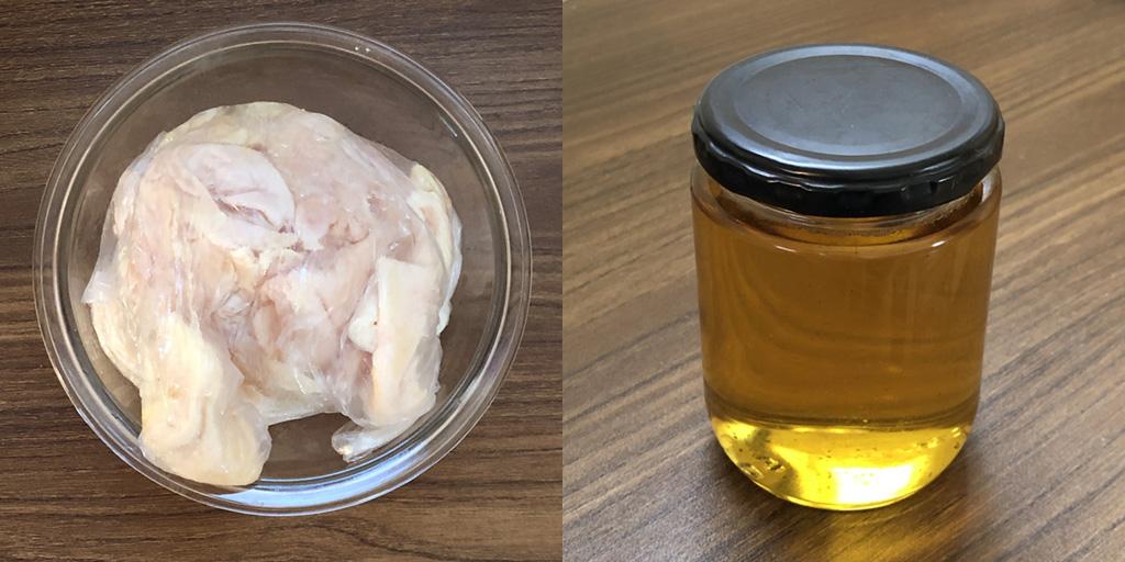 dishy. 鶏油:材料の鶏皮と完成した鶏油
